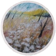 Queen Anne's Lace, Gouache Painting Round Beach Towel