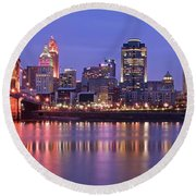 Queen City Aglow Round Beach Towel