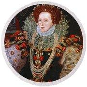Queen Elizabeth I, C1588 Round Beach Towel