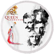 Queen Forever Remix II Round Beach Towel