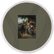 Queen Isabella And Columbus Henry Nelson Oneil Round Beach Towel