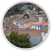 Queen Isabella's Castle Portugal Round Beach Towel