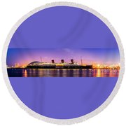 Queen Mary At Dusk_pano Round Beach Towel