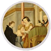 Queen Mary I Curing Subject With Royal Round Beach Towel