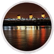 Queen Mary Panorama  Round Beach Towel