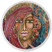 Queen Of The Cosmos Round Beach Towel
