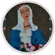 Queen St Isabel - The Miracle Of The Roses Round Beach Towel