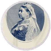 Queen Victoria Engraving - Her Majesty The Queen Round Beach Towel