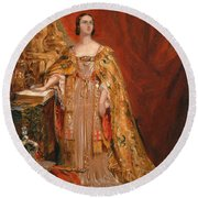 Queen Victoria Taking The Coronation Oath 28 June 1838 Round Beach Towel