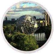 Queens New York City - Unisphere Round Beach Towel