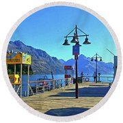 Queenstown's Majestic Mountains Round Beach Towel