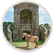 Quelven Village Square, Awaiting His Owner, Brittany, France Round Beach Towel