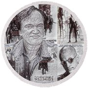 Quentin Tarantino Poster Drawing Round Beach Towel
