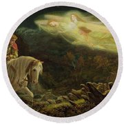 Quest For The Holy Grail Round Beach Towel by Arthur Hughes