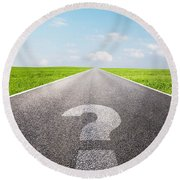 Question Mark Symbol On Long Empty Straight Road Round Beach Towel