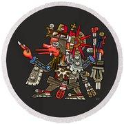 Quetzalcoatl In Human Warrior Form - Codex Borgia Round Beach Towel