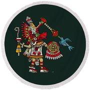 Quetzalcoatl In Human Warrior Form - Codex Magliabechiano Round Beach Towel
