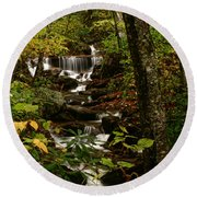 Quiet Autumn Stream Round Beach Towel