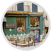 Quiet Cafes In Palma Majorca Spain   Round Beach Towel