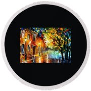 Quiet Corner-garden On The Stones - Palette Knife Oil Painting On Canvas By Leonid Afremov Round Beach Towel
