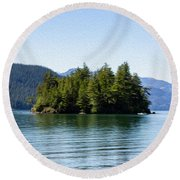 Quiet Day At The Lake - Digital Oil Round Beach Towel