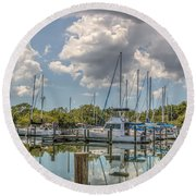 Quiet Marina Round Beach Towel