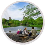 Quiet Moment In Central Park Round Beach Towel
