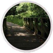 Quiet Path Bridge Round Beach Towel