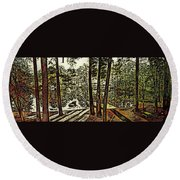 Quiet Pond Round Beach Towel