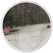 Quiet Remembrance Quantico National Cemetery Round Beach Towel