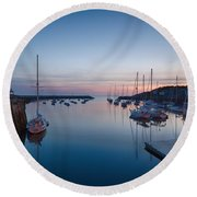Quiet Solitude Rockport Harbor Round Beach Towel