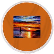 Quiet Sunset Round Beach Towel