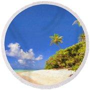 Quiet Tahiti Beach Round Beach Towel