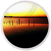 Quiet Time At Lake Mary  Round Beach Towel