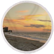 Quiet Time At The Beach Round Beach Towel