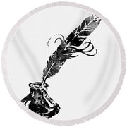 Quill And Ink-black Round Beach Towel
