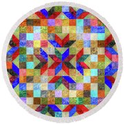Quilt Pattern No. 1 Round Beach Towel