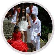 People Series - Quinceanera Ceremony  Round Beach Towel