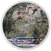 Quintessentially Dalyan River Boats And Rock Tombs Round Beach Towel