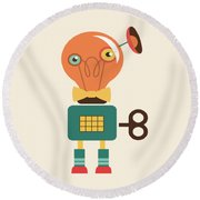 Quirky Retro Wind-up Toy Round Beach Towel