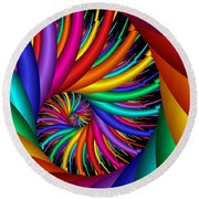 Quite Different Colors -16- Round Beach Towel