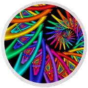 Quite In Different Colors -4- Round Beach Towel