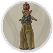 """punch"" Clown Puppet Round Beach Towel"