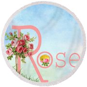 R For Rose Round Beach Towel