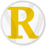 R In Mustard Typewriter Style Round Beach Towel