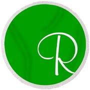 R In White Simple Script Round Beach Towel