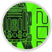 R2d2 - Star Wars Art - Green Round Beach Towel