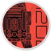 R2d2 - Star Wars Art - Red Round Beach Towel