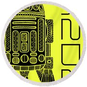 R2d2 - Star Wars Art - Yellow Round Beach Towel