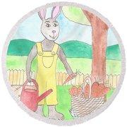 Rabbit Gardening In The Kitchen Garden Round Beach Towel